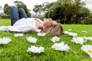 Woman relaxing outdoors